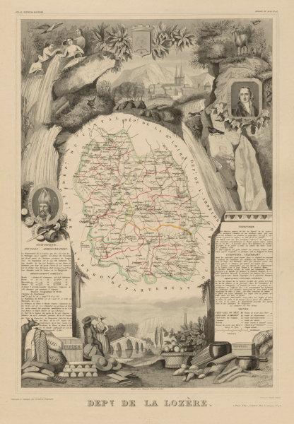 Associate Product Département de la LOZÈRE. Decorative antique map/carte by Victor LEVASSEUR c1854