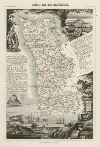 Associate Product Département de la MANCHE. Decorative antique map/carte by Victor LEVASSEUR c1854