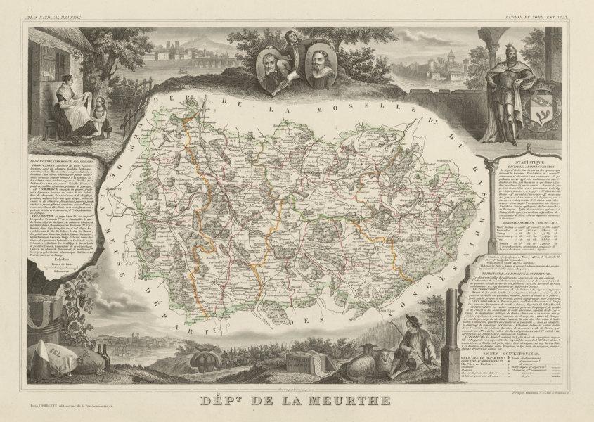 Associate Product Département de la MEURTHE. Decorative antique map/carte. Victor LEVASSEUR c1854