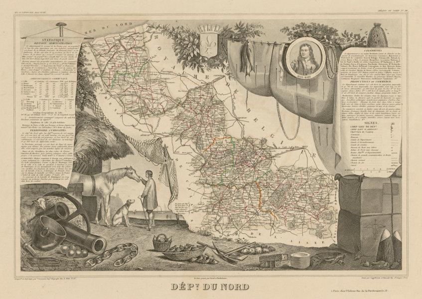 Associate Product Département du NORD. Decorative antique map/carte by Victor LEVASSEUR c1854