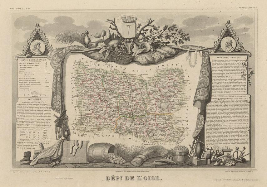 Associate Product Département de l'OISE. Decorative antique map/carte by Victor LEVASSEUR c1854