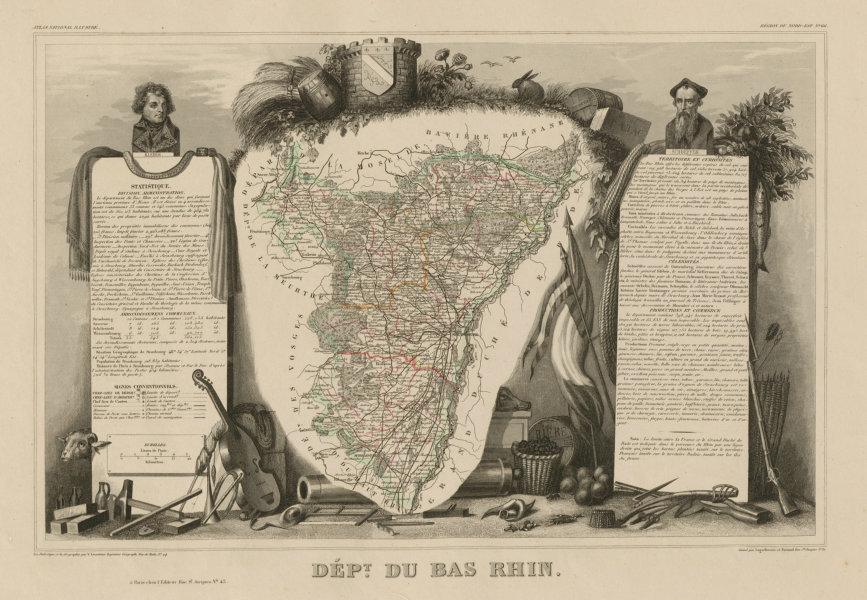 Département du BAS-RHIN. Decorative antique map/carte by Victor LEVASSEUR c1854