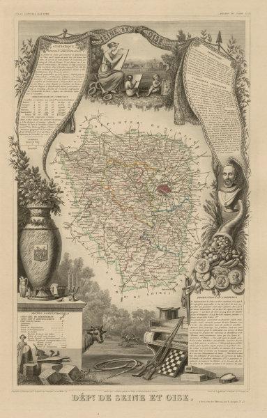 Associate Product Département de SEINE-ET-OISE. Decorative antique map/carte. LEVASSEUR c1854