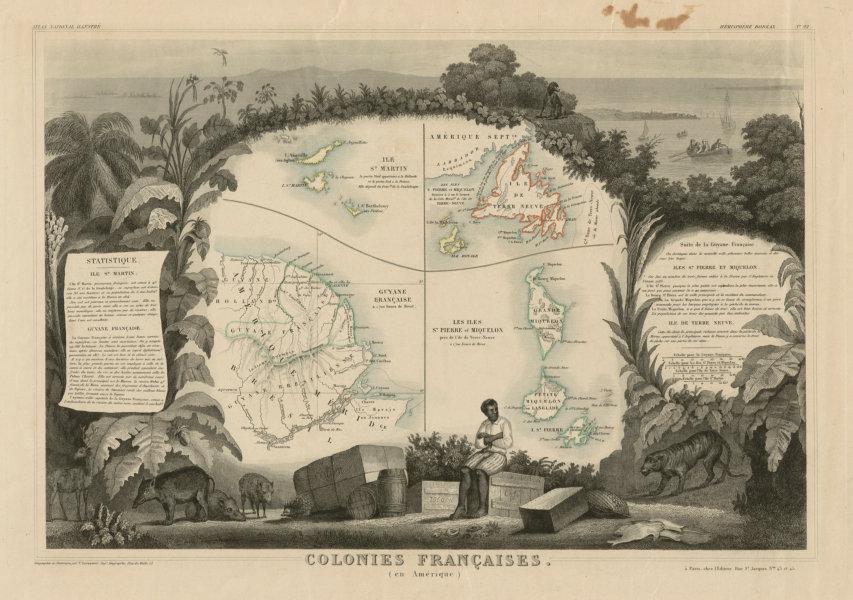 Associate Product COLONIES FRANÇAISES AMÉRIQUE. Guyane Newfoundland Miquelon. LEVASSEUR c1854 map