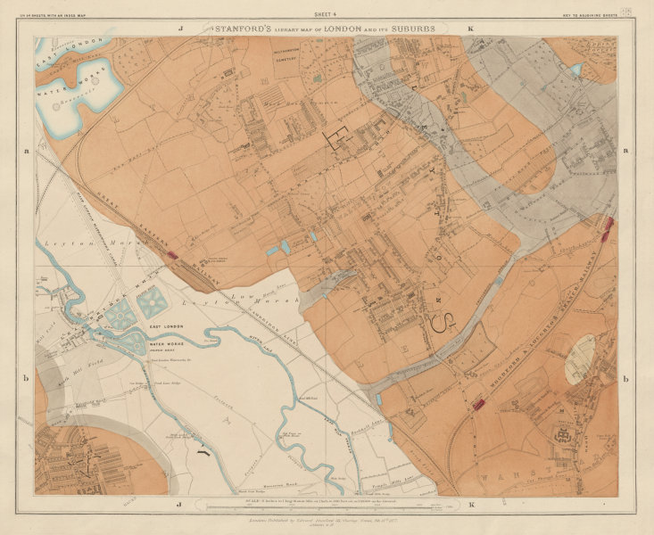 Associate Product Stanford's Library map of London Sheet 4 Leyton Leytonstone Hackney Marshes 1877