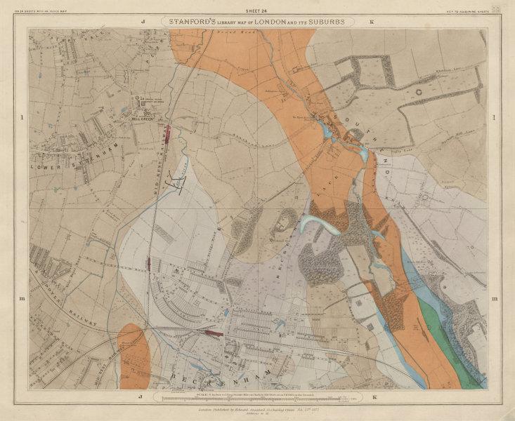 Associate Product Stanford's Library map of London Sheet 24. Beckenham Sydenham 1877 old