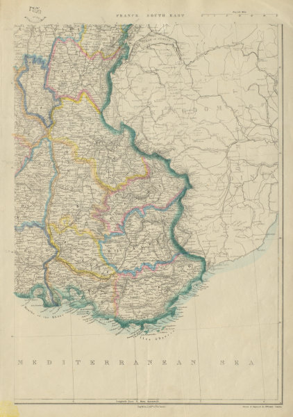 Associate Product FRANCE SOUTH EAST before annexation of Savoie & Comte de Nice. JW LOWRY 1859 map