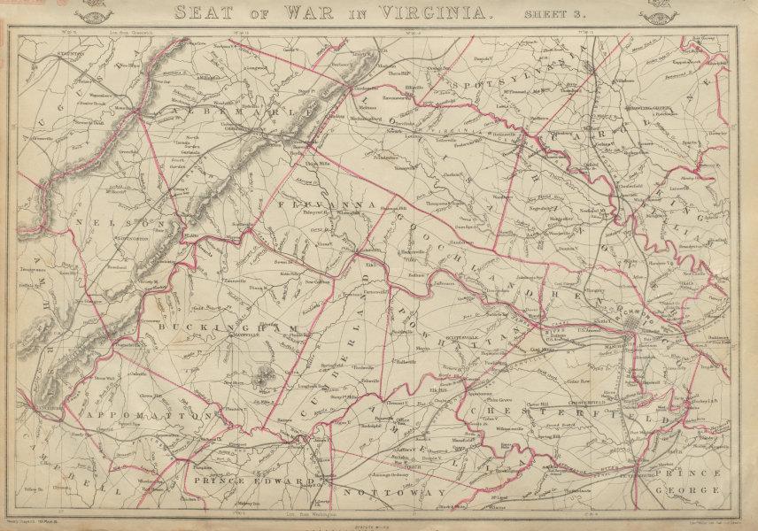 Associate Product US CIVIL WAR Seat of War in Virginia sheet 3 Richmond Lynchburg. WELLER 1863 map