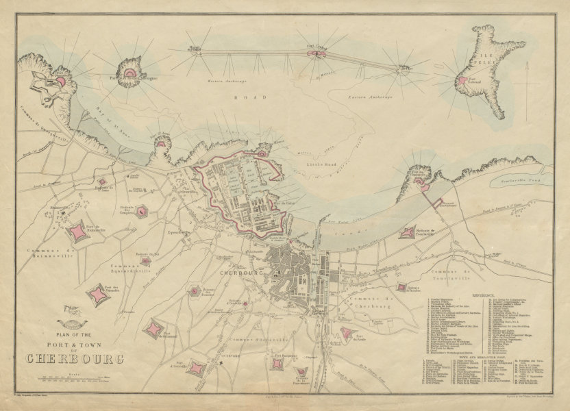 Associate Product Plan of the Port & Town of CHERBOURG. Octeville Manche. WELLER 1863 old map