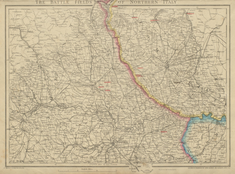 Associate Product Battle Fields of Northern Italy. 2nd War of Independence 1859. DOWER c1859 map
