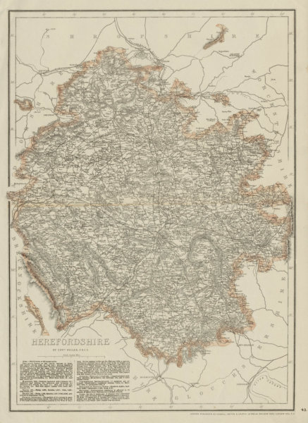 Associate Product HEREFORDSHIRE antique county map. Showing railways & exclaves. WELLER 1863