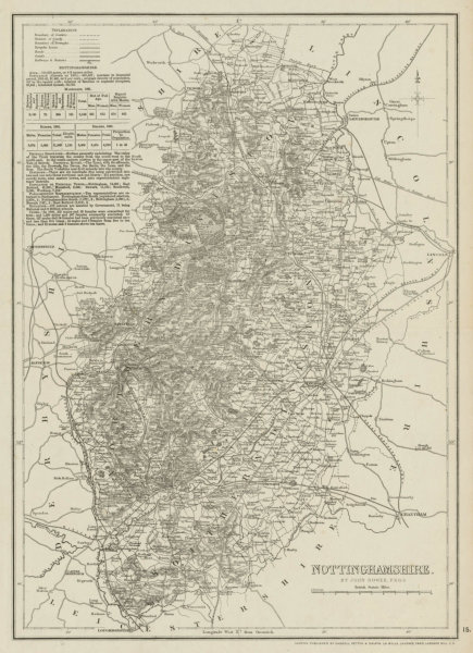 Associate Product NOTTINGHAMSHIRE antique county map. Dukeries Railways. DOWER 1863 old