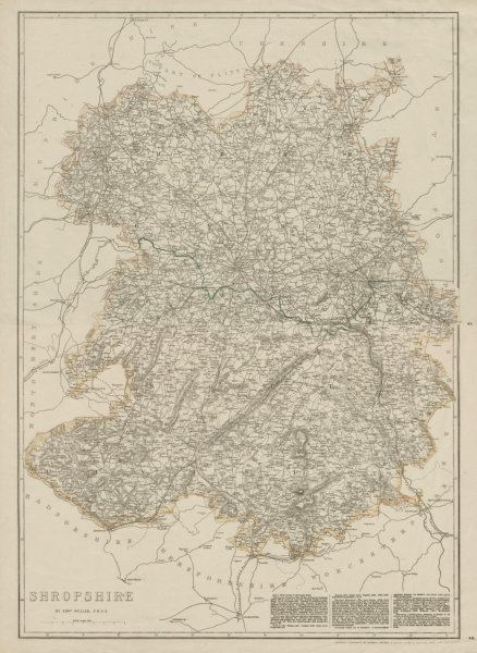 Associate Product SHROPSHIRE large county map. Railways Stiperstones Wenlock Edge WELLER 1863