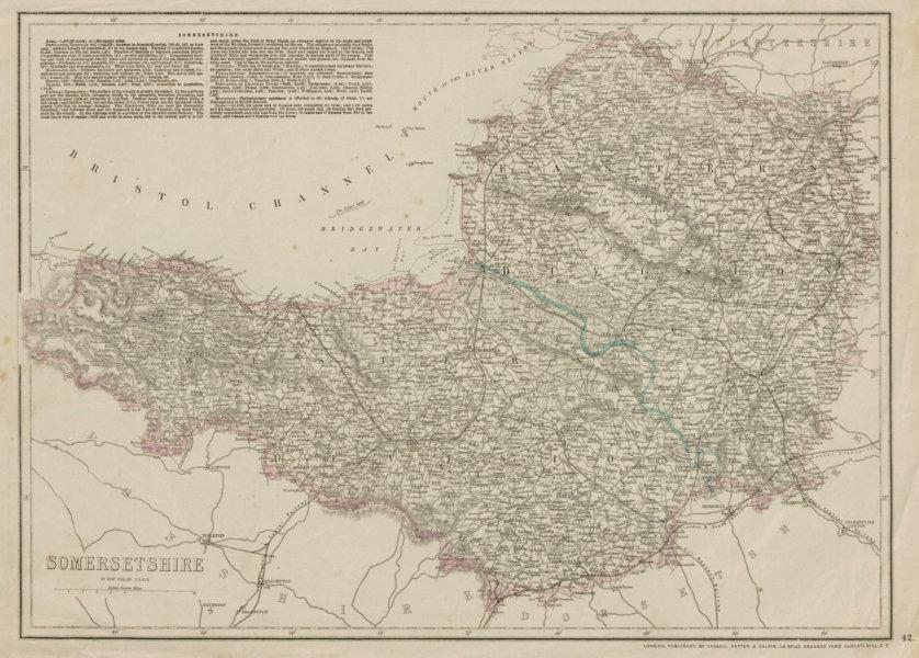 Associate Product SOMERSETSHIRE antique county map. Railways. Exmoor & Mendips. WELLER 1862