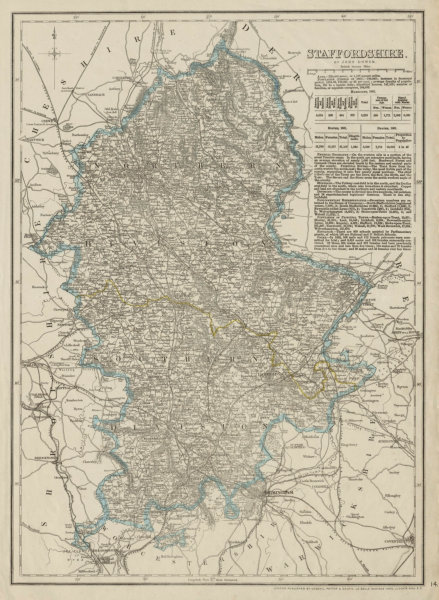 Associate Product STAFFORDSHIRE antique county map. Showing exclave & railways. DOWER 1863