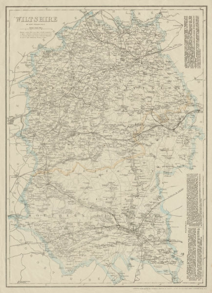 Associate Product WILTSHIRE antique county map. Salisbury Plain. Railways. WELLER 1863 old