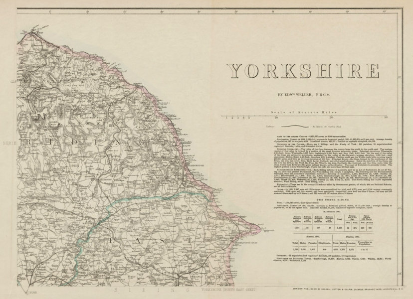 Associate Product YORKSHIRE NORTH EAST COAST. Bridlington Scarborough Whitby. WELLER 1863 map