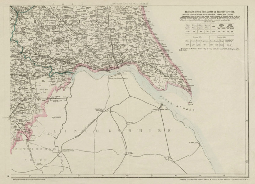 Associate Product YORKSHIRE SOUTH EAST. Humber estuary. York Hull Grimsby. WELLER 1863 old map