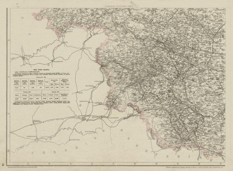 Associate Product YORKSHIRE SOUTH WEST. Halifax Bradford Sheffield Leeds. WELLER 1863 old map