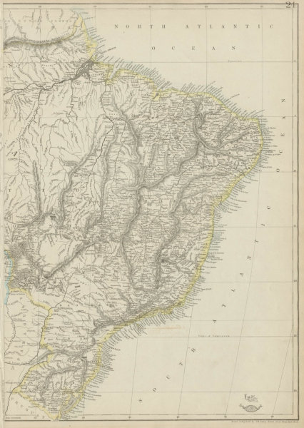 Associate Product BRAZIL COAST / East sheet. Borders pre Paraguayan War 1864. LOWRY 1862 old map