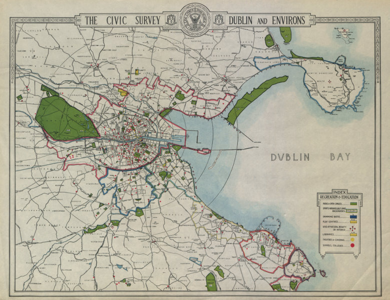 Associate Product DUBLIN CIVIC SURVEY Recreation Education Parks schools theatres cinemas 1925 map