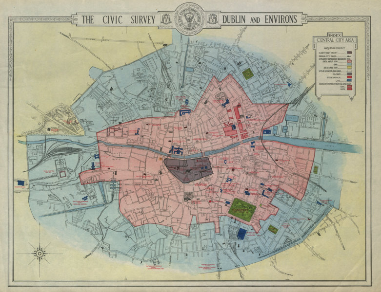 Associate Product DUBLIN CIVIC SURVEY Archaeology. Growth from 1900. Historic buildings 1925 map