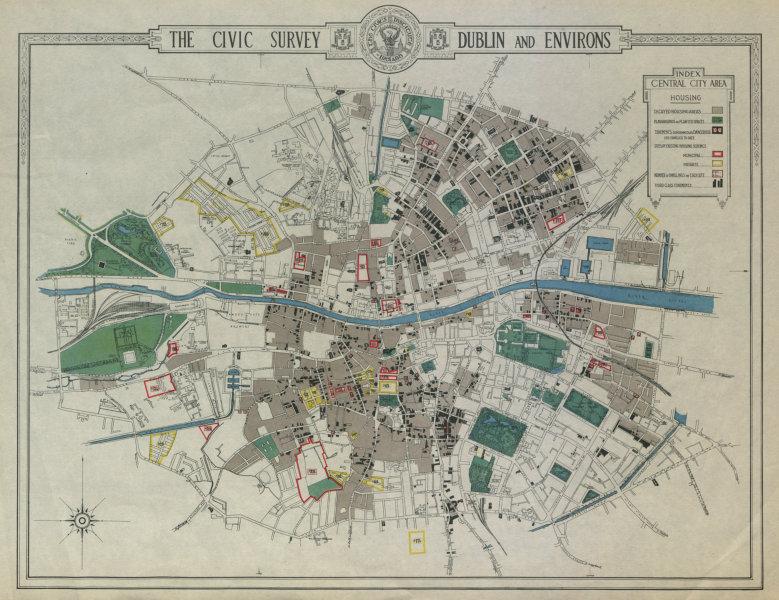 Associate Product CENTRAL  DUBLIN CIVIC SURVEY Housing. Unsafe decayed schemes tenements 1925 map