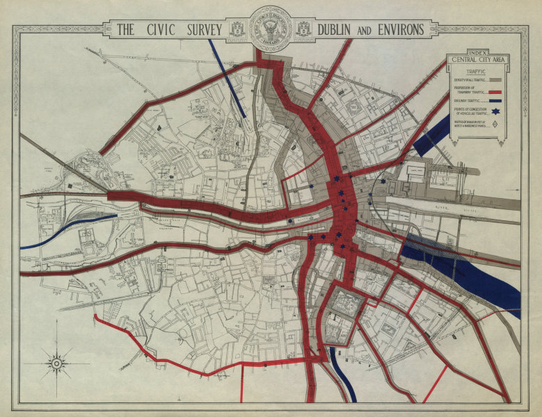 Associate Product CENTRAL DUBLIN CIVIC SURVEY - Traffic. Road tramway railway congestion 1925 map