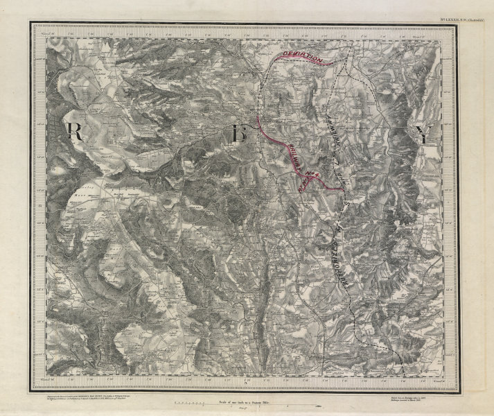 Associate Product MS&LR/Great Central Railway planning map Chesterfield ORDNANCE SURVEY #82SW 1882