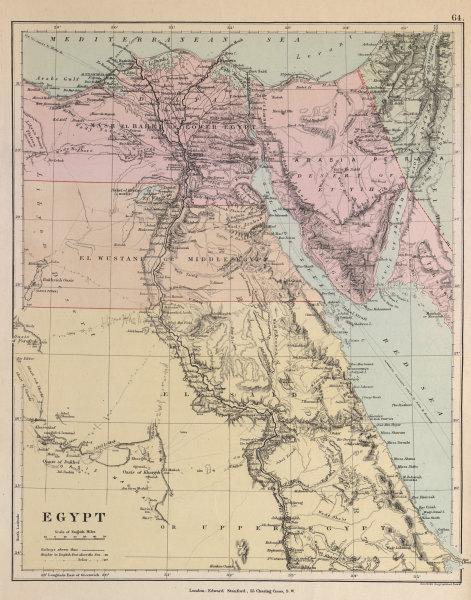 Associate Product Egypt. Nile valley Sinai Red Sea Gulf of Aqaba Sharm el-Sheik STANFORD c1877 map