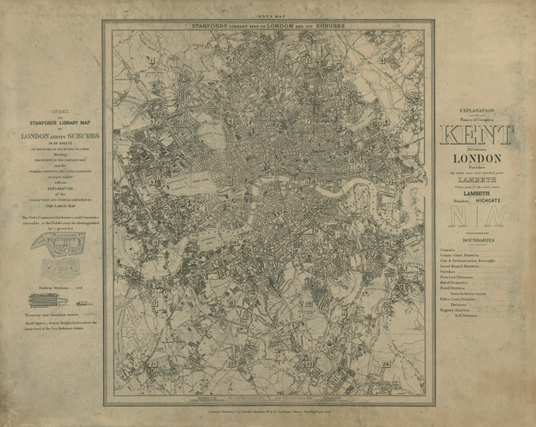 Associate Product Stanford's Library map of London - Index Map 1895 old antique plan chart