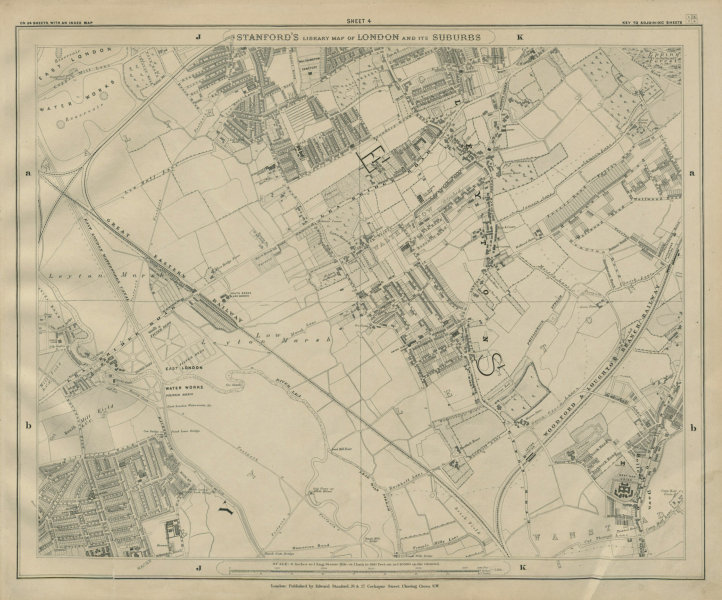 Associate Product Stanford Library map of London Sheet 4 Leyton Hackney Marshes Walthamstow 1895