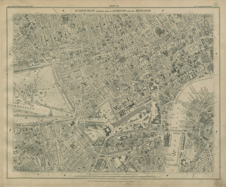 Associate Product Stanford Library map of London Sheet 10 Mayfair Marylebone Westminster 1895