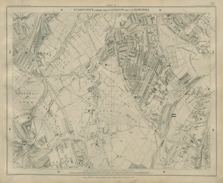 Associate Product Stanford Library map of London Sheet 19 Herne/Tusle/Forest Hill Dulwich 1895