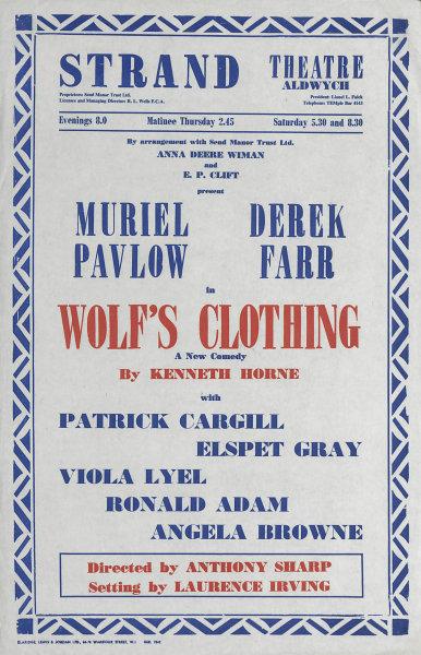 Associate Product Strand Theatre. Wolf's Clothing. Kenneth Horne. Muriel Pavlow, Derek Farr 1959