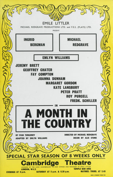 Associate Product Cambridge Theatre. A Month in the Country. Ingrid Bergman, Michael Redgrave 1965