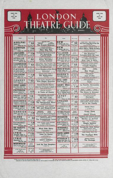 London West End Theatre Guide Jun 29-Jul 4th 1959. Marketing poster 1959 print