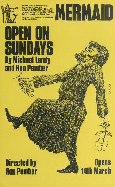 Associate Product Mermaid Theatre. Open on Sundays. Michael Landy, Ron Pember. Poster 1968 print