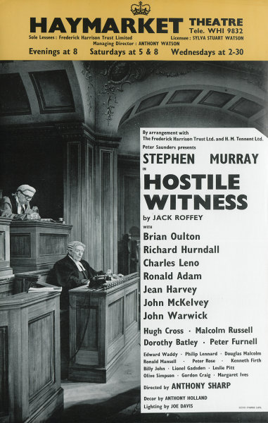 Associate Product Haymarket Theatre. Hostile Witness Jack Roffey Anthony Sharp Stephen Murray 1964