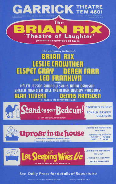 Associate Product Garrick. Brian Rix Theatre of Laughter. Leslie Crowther. Bedouin &c. Poster 1967
