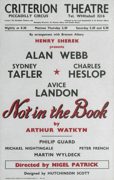 Associate Product Criterion Theatre. Not in the Book. Arthur Watkyn. Alan Webb, Sydney Tafler 1958
