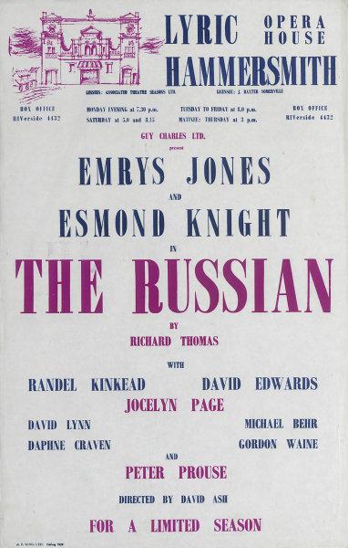 Associate Product Lyric Theatre Hammersmith. The Russian. Thomas. Emrys Jones, Esmond Knight 1958