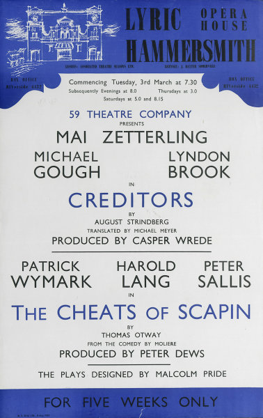 Associate Product Lyric Theatre Hammersmith. Creditors. Cheats of Scapin. Mike Gough, Brook 1959