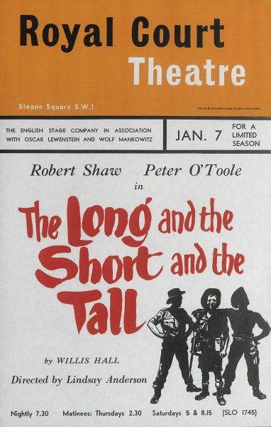 Associate Product Royal Court Theatre. The Long & Short & Tall. Robert Shaw. Peter O'Toole 1959