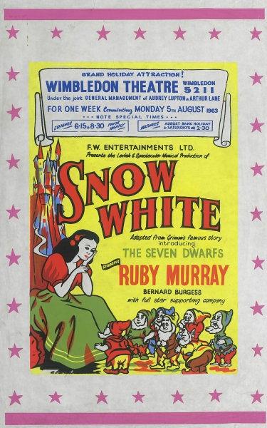 Associate Product Wimbledon Theatre. Snow White. Musical poster. Ruby Murray, Bernard Burgess 1963