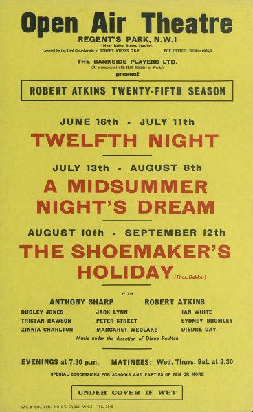 Associate Product Regent's Park Open Air Theatre. Twelfth Night. A Midsummer Night's Dream 1958