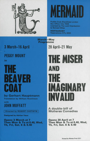 Associate Product Mermaid Theatre. Beaver Coat. Hauptmann. Miser/Imaginary Invalid. Molière 1966