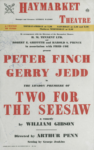 Associate Product Haymarket Theatre. Two For The Seesaw. William Gibson. Peter Finch. Jedd 1958