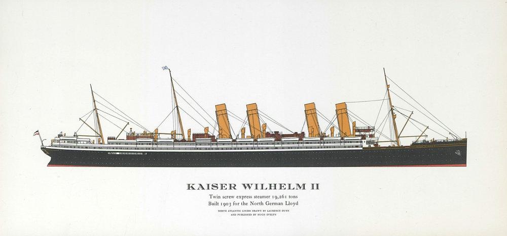 Associate Product Kaiser Wilhelm II ocean liner 1903. North German Lloyd. Germany-NYC 1961 print