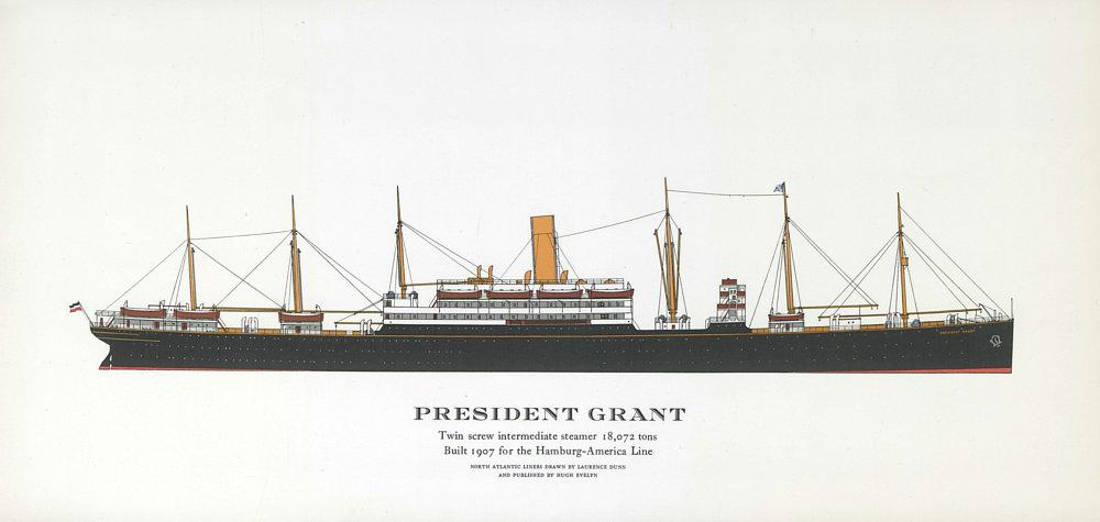 Associate Product President Grant ocean liner 1907. Hamburg-America Line. HAPAG 1961 old print